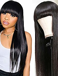 cheap -Glueless Straight None Lace Human Hair Wigs With Bangs 100% Unprocessed Virgin Brazilian Full Machine Made Human Hair Wigs for Black Women 150% Density Natural Black Color