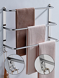 cheap -Bathroom Three-layer Shelf with Hooks Stainless Steel Multi-function Towel Rack Polished Silver and Brushed Nickel 1pc