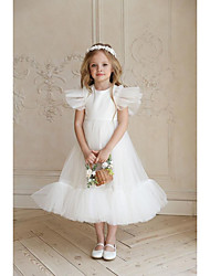 cheap -A-Line Ankle Length Flower Girl Dresses Party Tulle Sleeveless Jewel Neck with Solid