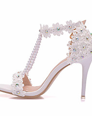 cheap -Women's Wedding Shoes High Heel Pointed Toe Wedding Sandals Wedding PU Imitation Pearl Lace White / Summer