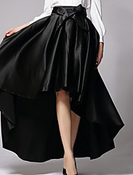 cheap -Women's Christmas Gifts Halloween Ceremony Party Active Swing Maxi Skirts Satin Solid Colored Tulle Pleated Asymetric Hem High Waist Black Red / Asymmetrical / Loose / Bow
