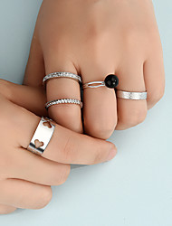 cheap -Ring Set Fashion Hollow Love Heart Wide Ring Alloy Set Joint Ring 5-Piece Combination Set