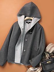cheap -Women's Coat Causal Fall Spring Regular Coat Shirt Collar Regular Fit Casual Jacket Solid Color Modern Style Navy M beige