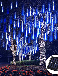 cheap -Outdoor Solar LED Meteor Shower Rain Lights Holiday String Lights Waterproof Garden Light 8 Tubes 144 Leds For Garden Tree Colorful  Decoration Landscape Lighting