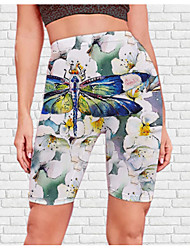 cheap -Women's Stylish Athleisure Breathable Soft Biker Shorts Skinny Beach Fitness Pants Flower / Floral Animal Knee Length Print White