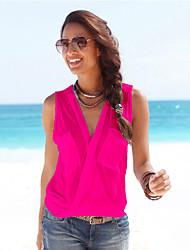 cheap -Women's Holiday Blouse Tank Top Vest Plain Pocket Button V Neck Basic Streetwear Tops Cotton Fuchsia
