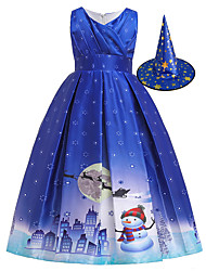 cheap -Snowman Flapper Dress Dress Party Costume Girls' Movie Cosplay Cosplay Blue Dress Hat Christmas Halloween New Year Polyester