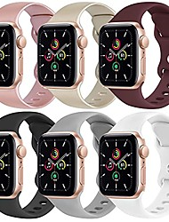 cheap -[6 pack] yisica silicone bands compatible with apple watch band 38mm 40mm for men women, sport wristbands for iwatch series se/6/5/4/3/2/1 (01 rose gold+gold+wine red+black+gray+white, m/l)