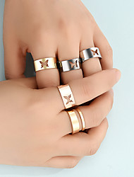 cheap -Ring Set Fashion Joint Ring Butterfly Hollow Copper Ring 5-Piece Set Open Adjustable Ring Ring