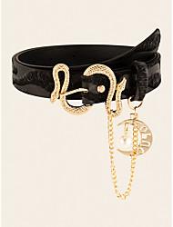 cheap -Women's Waist Belt Party Street Dailywear Holiday Black and White Black Belt Color Block Basic Fall Winter Spring Summer