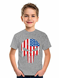 cheap -Kids Boys' T shirt Short Sleeve American flag 3D Print Graphic Flag Print Gray Children Tops Summer Active Daily Wear Regular Fit 4-12 Years