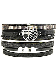 cheap -fashion bracelets multi-layer tree of life magnetic magnet clasp jewelry bracelet pu printed letters