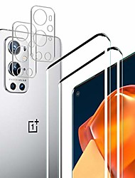 cheap -oneplus 9 pro screen protector + camera lens protectors by jiufen, [2 pack] hd clarity full coverage premium tempered glass, 9h hardness, anti-scratch, anti bubble 3d touch accuracy film