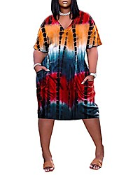 cheap -Women's T Shirt Dress Tee Dress Knee Length Dress Spot stock shipped on the same day Explosive version, large quantity and price can be discussed Blue Purple Yellow Orange Red Short Sleeve Print