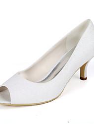 cheap -Women's Wedding Shoes Kitten Heel Peep Toe Wedding Pumps Wedding Gleit Solid Colored Light Purple Champagne Silver