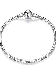 cheap -womens sterling silver charm bracelet - authentic s925 sterling silver plated bracelet for women complete with gift pouch (19, round clasp)