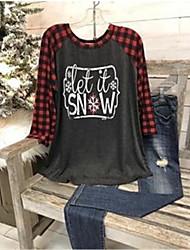 cheap -Women's Plus Size Tops Blouse Pattern Long Sleeve Round Neck Gray Big Size L XL XXL XXXL