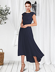cheap -A-Line Mother of the Bride Dress Elegant Jewel Neck Ankle Length Chiffon Lace Sleeveless with Pleats Appliques 2021