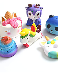 cheap -4Pcs Uincorn Squishy Toys Slow Rising Jumbo Squishies Starry DeerUincorn CakeUnicorn DonutRainbow Horse Set Cream Scented Soft Squeeze Novelty Toy Stress Relief Hop Props Sensory Toys Xmas Gifts