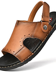 cheap -Men's Sandals Crochet Leather Shoes Flat Sandals Sporty Casual Roman Shoes Daily Outdoor Nappa Leather Cowhide Breathable Handmade Non-slipping Booties / Ankle Boots Dark Brown Khaki Black Fall Summer