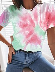 cheap -Women's T shirt Tie Dye Round Neck Tops Blue Purple Fuchsia