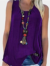 cheap -Women's Blouse Tank Top Plain Round Neck Basic Streetwear Tops Purple Wine Black