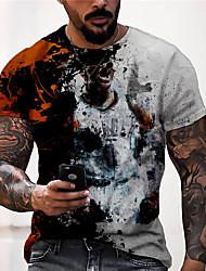 cheap -Men's Tee T shirt Shirt 3D Print Graphic Prints Human Soccer Football player Print Short Sleeve Daily Tops Casual Vintage Classic Designer Blue Gray / Summer