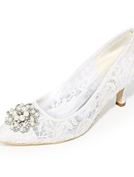 cheap -Women's Wedding Shoes Kitten Heel Pointed Toe Lace Rhinestone Pearl Solid Colored White Black Pink