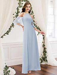 cheap -Sheath / Column Jewel Neck Floor Length Chiffon Bridesmaid Dress with Pleats / Ruffles