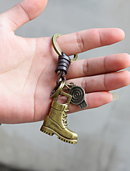 cheap -retro car keychain alloy bronze woven leather key ring