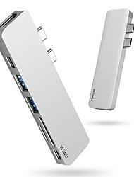 cheap -WiWU High Speed OTG Support Power Delivery Function T8 Type-C Hub USB 3.0 USB C to USB 3.0 USB 3.0 USB C SD Card HDMI USB Hub 8 Ports For Windows, PC, Laptop