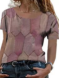 cheap -Women's Plus Size Tops T shirt Solid Color Short Sleeve Round Neck Rose powder Bean Paste Powder Blue Big Size L XL XXL XXXL