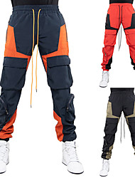 cheap -Men's Stylish Sporty Casual / Sporty Streetwear Breathable Soft Jogger Pants Daily Sports Pants Patchwork Full Length Drawstring Elastic Waist Black Red Navy Blue