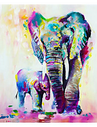 cheap -Oil Painting Handmade Hand Painted Wall Art Colored Elephant Abstract Home Decoration Decor Stretched Frame Ready to Hang