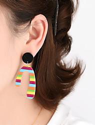 cheap -Trendy Leopard Print Earrings Exaggerated Color Stripes Acrylic Irregular Geometric Earrings Earrings