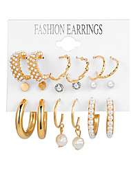 cheap -Women's Earrings Earrings Set Simple Elegant Fashion Imitation Pearl Imitation Diamond Earrings Jewelry Gold For Party Evening Gift Prom Date Vacation 9 pairs