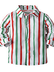 cheap -Kids Boys' Shirt Blouse Long Sleeve Stripe Rainbow Cotton Children Tops All Seasons Basic Casual / Daily School Casual Daily Standard Fit 2-8 Years
