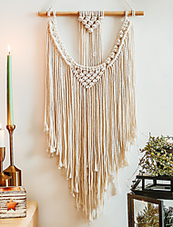 cheap -1PC Hand Woven Macrame Wall Tapestry Hanging Bohemian Boho Art Decor Blanket Curtain Home Bedroom Living Room Decoration Nordic Handmade Tassel Cotton