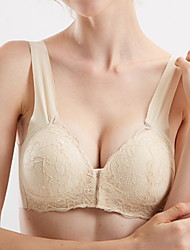 cheap -Women's Bras & Bralettes Push-up Full Coverage Lace Solid Color Blushing Pink