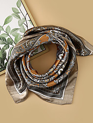 cheap -Women's Square Scarf Holiday Multi-color Scarf Floral / Color Block / Polyester