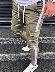 cheap -Men's Stylish Sporty Casual / Sporty Streetwear Breathable Soft Jogger Pants Cotton Daily Sports Pants Patchwork Full Length Drawstring Elastic Waist ArmyGreen Khaki Black
