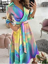 cheap -2021ebay aliexpress wish hot spring and summer fashion long-sleeved v-neck print bag hip dress women's clothing