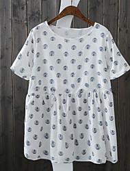 cheap -Women's Plus Size Tops Blouse Shirt Dot Short Sleeve Round Neck Blue White Big Size L XL 2XL 3XL 4XL