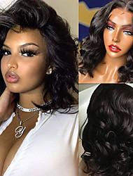 cheap -Lace Font Body Wave Short Bob Wigs Black Human Hair Wigs Brazilian Frontal Wigs 13x6 Lace Closure  14inch  Wigs