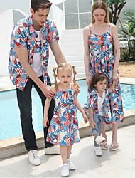 cheap -Family Look Blue Vacation Flag Print Short Sleeve Knee-length Family Sets