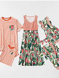 cheap -Family Sets Family Look Cotton Striped Leaf Daily Wear Print Orange Sleeveless Knee-length Daily Matching Outfits / Summer