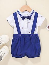 cheap -2 Pieces Baby Boys' Basic Cotton Print Print Short Sleeve Short T-shirt & Shorts Clothing Set Royal Blue