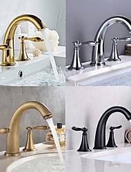 cheap -Bathroom Sink Faucet - Widespread Antique Brass / Electroplated Widespread Two Handles Three HolesBath Taps