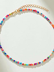 cheap -Women's Beaded Necklace Necklace Beads Fashion Holiday Boho Resin Alloy Rainbow White 40+5 cm Necklace Jewelry 1pc For Beach