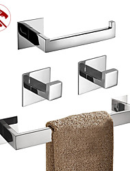 cheap -Towel Bar / Toilet Paper Holder / Robe Hook New Design / Self-adhesive / Creative Contemporary / Modern Stainless Steel / Low-carbon Steel / Metal 5pcs / 4pcs / 2pcs - Bathroom Wall Mounted